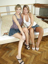 These 2 hot euro babes get dowsed with cum in these pics