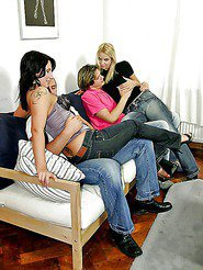 Hot annita aned her euro babes take some cocks back to the pad for some orgyh action in thes pics