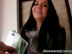 Pretty amateur brunette babe takes money and gets fucked