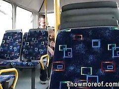 Pretty blonde girlfriend caught on spycam intensely fucking on the bus