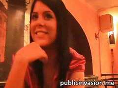 Pretty euro sweetheart fucked in the public restaurant by a stranger