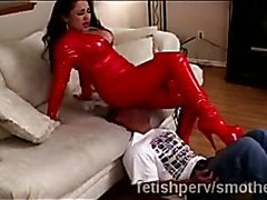 Big stacked MILF in latex teases perv by sitting on his face