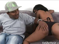 Big black monster cock destroys the mouth and pussy of this naughty ghetto whore