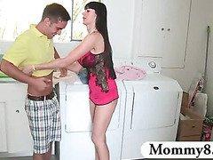 French stepmom creampie jizzed in a threesome with teens