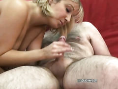 Blonde hottie Lily Anna is down on her knees and swallowing an old dudes stiff cock