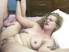 Swinging housewives Chastity Sinn and Brooke take turns getting fucked by a lucky geek