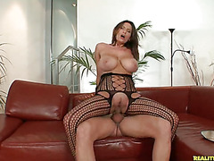 Sensual Jane rides that cock as her huge amazing melons bounce all over.