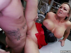 Sexy Big Tit Blonde Fucks Rocker Dude in the Backroom