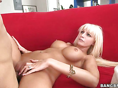 Blonde with big tits loves cum in her pussy