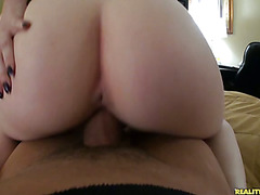 Violet sucks cock and rides reverse cowgirl.