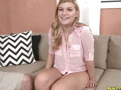 Cute 20 year old blonde chick bounces on a hard  raw dick.