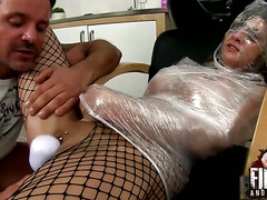 Hot and sexy whore gets fisted and stuffed at the hairdresses and ends wrapped up in plastic