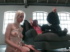 Two horny German fuck sluts tied up and used