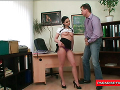 Horny boss forces a girl to fuck him hard