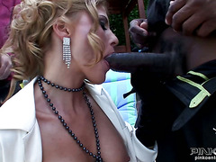 Nadia Macri takes on two huge cocks and gets banged by her servants and she can?t get enough