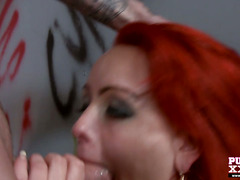 Busty redhead flashing her tits and gets the cock
