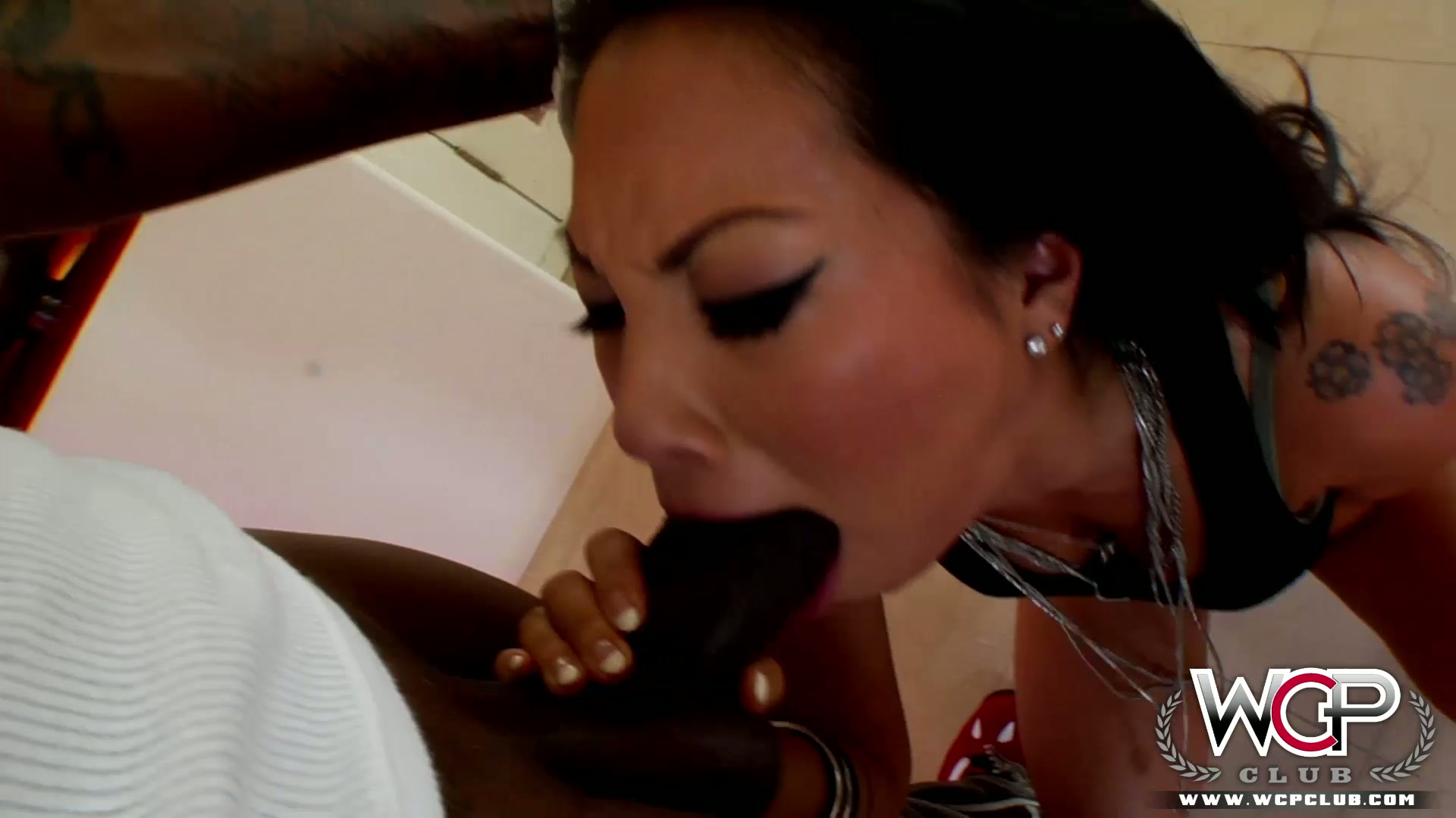 Asian babe loves this black dick