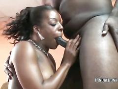 Ebony slut Anastasia in a sexy bikini and on her knees to swallow a stiff black cock