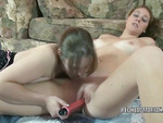 Lesbian housewife Danni is using her toy to fuck busty redhead college girl Mariah