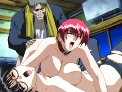 Busty hentai coeds threesome fucked by old pervert