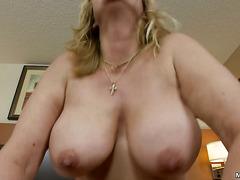 Nascar loving Granny gives porn a try