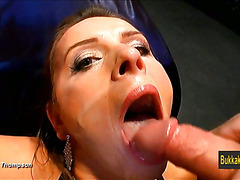 Busty amateur slut analized and bukkake
