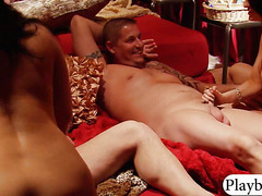 Horny swingers group sex in the bedroom
