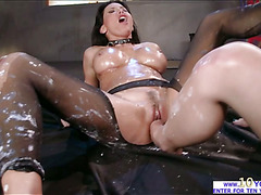 Big tittied Lesley gets probed in a hardcore lesbian sex with Katrina