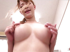 Super sexy huge boobed Japanese girl Tia Bejean on top sex