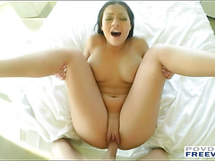 Busty babe Karissa gets pounded filmed in POV with 3D sound technology