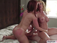 Stepmom Janet Mason and bestfriend Farrah Dahl in threesome sex