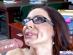 Hot librarian probes her pussy by a vibrator and cock inside the library