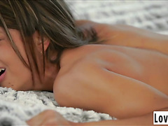Sweet loving brunette is waiting for her boyfriend to fuck her