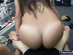 Booby college girl fucks at the pawnshop