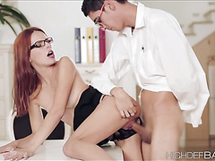 Lucky applicant gets to be seduced by the horny secretary so the fuck
