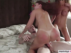 Step mom gets jealous after seeing his boy fucking an older woman
