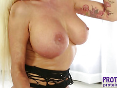 Beautiful Nikita Von James milk his huge cock with her mouth