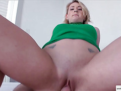 Pretty Natasha celebrates with a fat cock in her virgin bubble ass