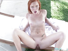 A skinny babe Alex in an outdoor fuck gets to suck huge cock