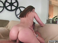 Sexy beautiful babe Dani with bubble ass gets slammed by a big cock