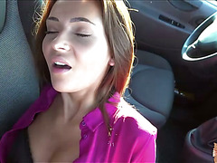 Three gorgeous hitch hikers sucks cock and gets fucked along the way