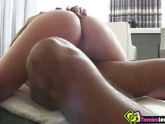 Angelic babe Cali Hayes gives oral before riding a huge cock