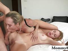 Brandi Love threesome on massage table
