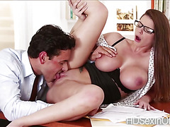 Horny slutty Brooklyn Chase let dude feasts her gorgeous big tits