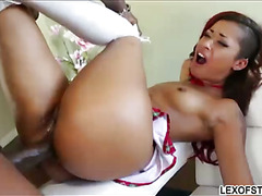 Rose Red Tyrell enjoys her 1st huge cock