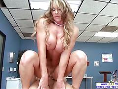 Farrah Dahl dives deep into a hard big cock and deepthroats the whole prick