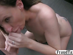 Horny wife facialed by fake taxi driver