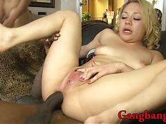 Kinky blonde slut DP by huge black dongs