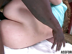 Amazing big butt Maddy rides a big black cock taking deep and hard