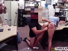 Black hair skinny nurse takes of her underwear and willing to get fucked in the shop